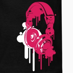 Black Headphones Pink Kids' Shirts