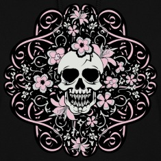 Black Girly Vintage Skull Hoodies