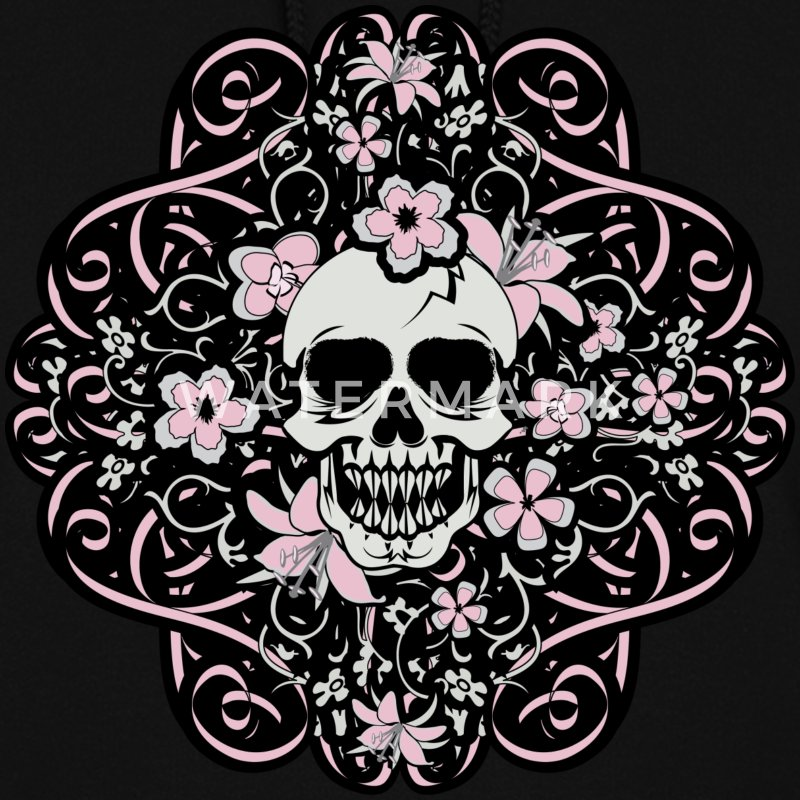 Black Girly Vintage Skull Hoodies - Women's Hoodie