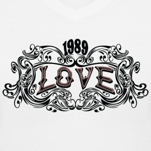 White 1989 love Women's T-Shirts - Women's V-Neck T-Shirt