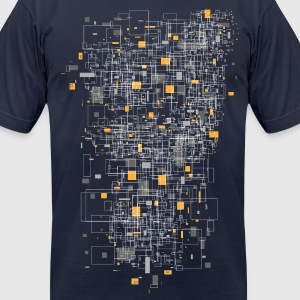 Navy squares sqared designer graphic T-Shirts - Men's T-Shirt by American Apparel