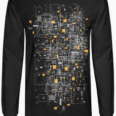 Black squares sqared designer graphic Long Sleeve Shirts