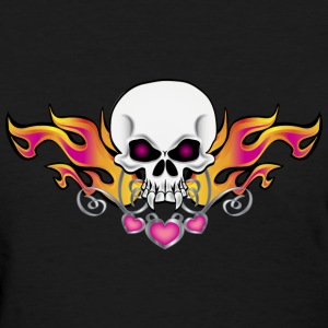 Black Flaming Skull and Hearts Women's T-Shirts - Women's T-Shirt