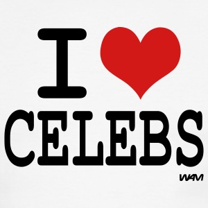 White/black i love celebs by wam T-Shirts - Men's Ringer T-Shirt