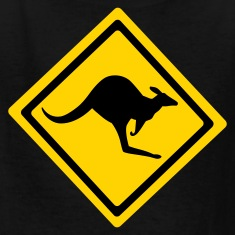 Black Australian Kangaroo Sign  Kids' Shirts