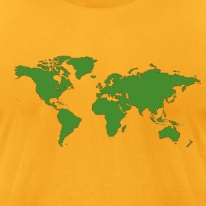 Gold World Map T-Shirts - Men's T-Shirt by American Apparel