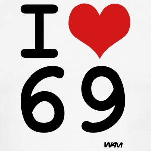 White/black i love 69 by wam T-Shirts - Men's Ringer T-Shirt