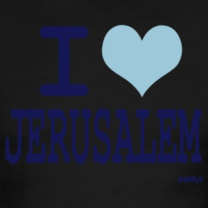 White/navy i love jerusalem by wam T-Shirts - Men's Ringer T-Shirt