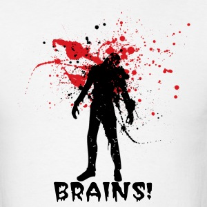 White Halloween zombie Designer graphic want Brains! T-Shirts - Men's T-Shirt