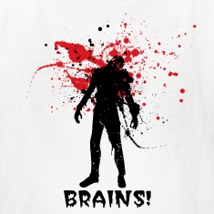 "White Halloween zombie Designer graphic ""want Brains!"" Kids' Shirts"