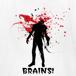White Halloween zombie Designer graphic want Brains! Kids' Shirts - Kids' T-Shirt