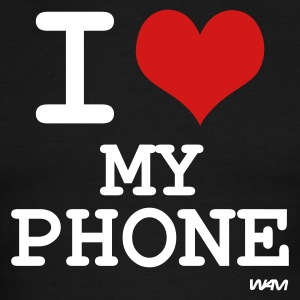 Black/white i love my phone by wam T-Shirts - Men's Ringer T-Shirt