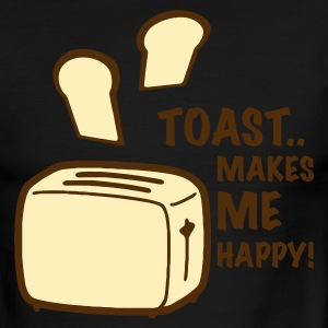Sky/navy toast makes me happy T-Shirts - Men's Ringer T-Shirt