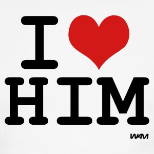 White/black i love him by wam T-Shirts - Men's Ringer T-Shirt
