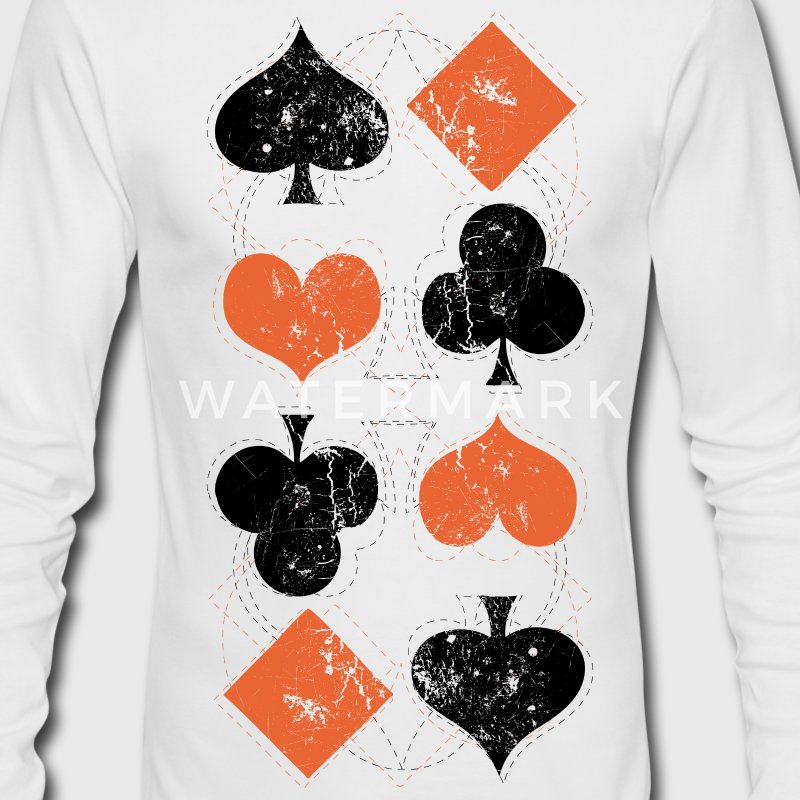White vintage poker playing cards Long Sleeve Shirts - Men's Long Sleeve T-Shirt by Next Level