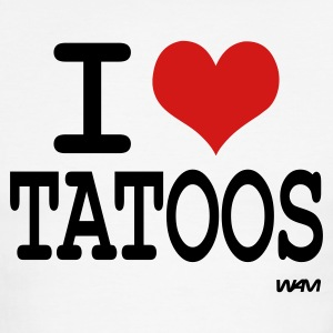White/black i love tatoos by wam T-Shirts - Men's Ringer T-Shirt