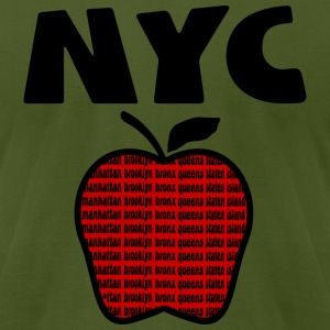 Olive NYC With Big Apple And 5 Boroughs--DIGITAL DIRECT PRINT ONLY T-Shirts - Men's T-Shirt by American Apparel