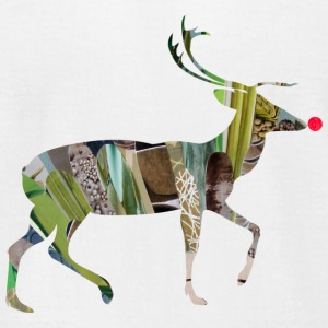 White collage art REINDEER T-Shirts - Men's T-Shirt by American Apparel