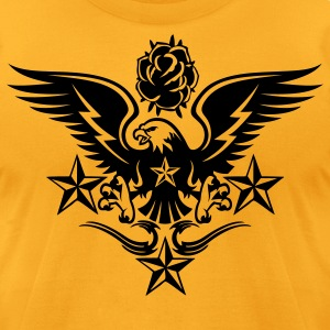 Gold Eagle,Rose,and Nautical Star Lightning Tattoo T-Shirts - Men's T-Shirt by American Apparel