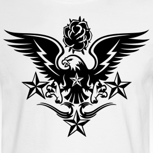 White Eagle,Rose,and Nautical Star Lightning Tattoo Long Sleeve Shirts - Men's Long Sleeve T-Shirt
