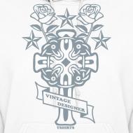 Design ~ Silver Print New Cross and Roses Vintage Designer Hoodie