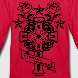 Red tattoo rose cross and nautical star Kids' Shirts - Kids' Long Sleeve T-Shirt