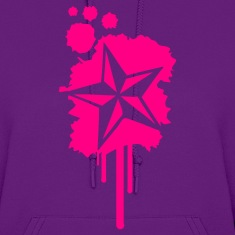Light pink Nautical Star Graffiti Paint Splatter Hoodies