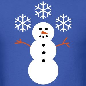Happy Snowman with Snowflakes - Men's T-Shirt