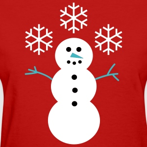 Happy Snowman with Snowflakes - Women's T-Shirt