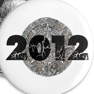 White 2012 Mayan Calendar Buttons - Large Buttons