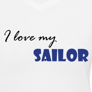 White Love my Sailor Women's T-Shirts - Women's V-Neck T-Shirt