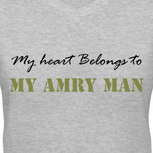 Gray Heart belongs to my Army Man Women's T-Shirts - Women's V-Neck T-Shirt
