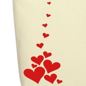 Creme Falling Hearts Bags  - Eco-Friendly Cotton Tote