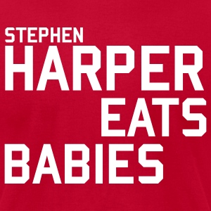 Orange Stephen Harper Eats Babies T-Shirts - Men's T-Shirt by American Apparel