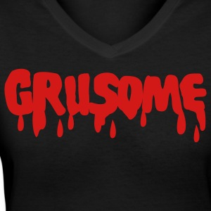 Black grusome with blood drips Women's T-Shirts - Women's V-Neck T-Shirt
