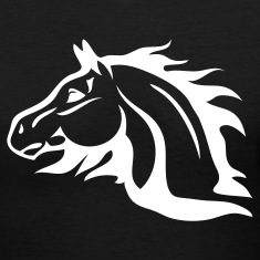 Black horse with flames as mane Women's T-Shirts