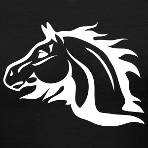 Black horse with flames as mane Women's T-Shirts - Women's V-Neck T-Shirt