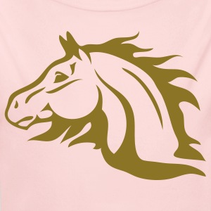 Light pink horse with flames as mane Baby Body - Long Sleeve Baby Bodysuit