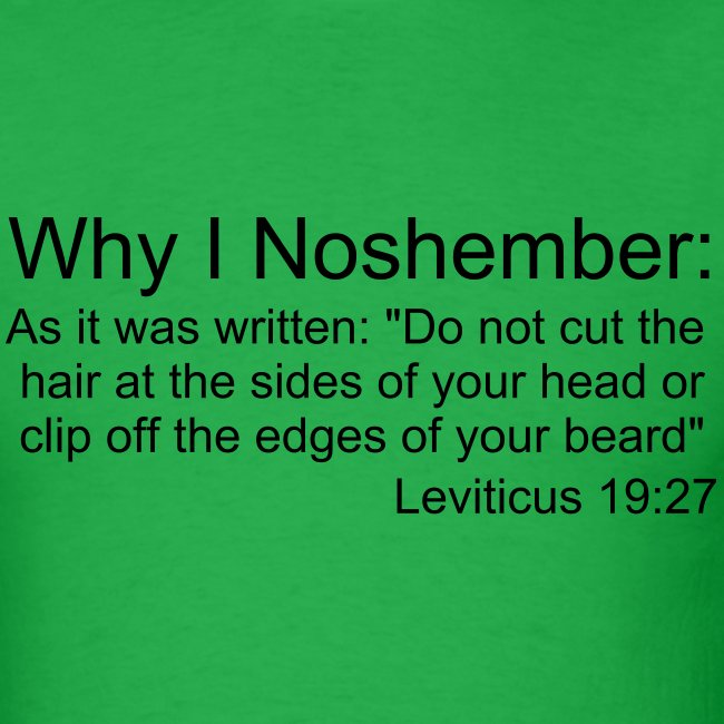 Why I Noshember, Lev 19:27 Men's Tee - Black Text