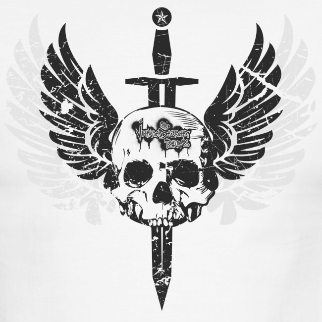 Vintage Skull and Graffiti Logo   Men's Ringer T-Shirt