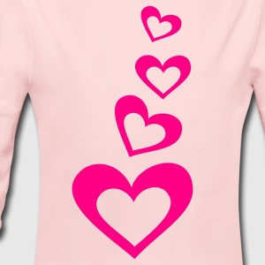 Light pink hearts in a line down Baby Body - Long Sleeve Baby Bodysuit