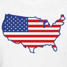 White Flag USA Map Women's T-Shirts