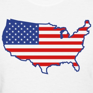 White Flag USA Map Women's T-Shirts - Women's T-Shirt
