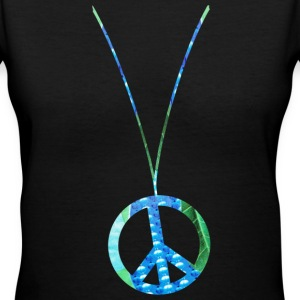 Black PEACE SIGN NECKLACE Women's T-Shirts - Women's V-Neck T-Shirt