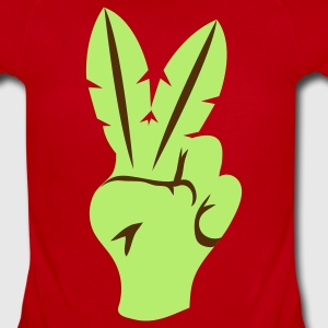 Red peace sign fingers palm leaves Baby Body - Short Sleeve Baby Bodysuit