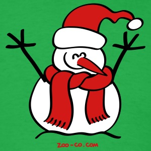 Bright green Christmas Snow Man T-Shirts - Men's T-Shirt