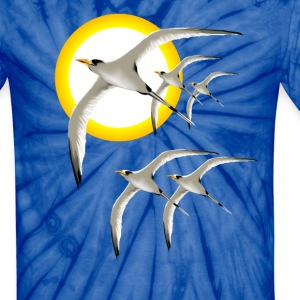 Five Tropic Birds and Sun - Unisex Tie Dye T-Shirt