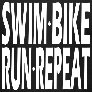 Black Triathlon Swim Bike Run Repeat T-Shirts - Men's T-Shirt by American Apparel