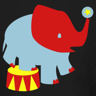 Design ~ KKT 'Circus Elephant, 3 Color' Kids' LS Tee, Black