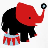 Design ~ KKT 'Circus Elephant, 3 Color' Kids' LS Tee, White